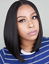 cheap -Synthetic Lace Front Wig Straight Middle Part Lace Front Wig Short Natural Black #1B Synthetic Hair 10-16 inch Women's Soft Adjustable Party Black