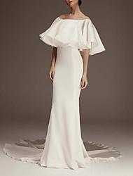 cheap -Sheath / Column Jewel Neck Court Train Satin Half Sleeve Romantic Plus Size Wedding Dresses with Ruffles 2020