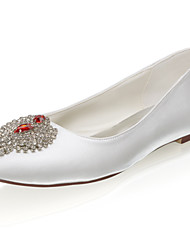 cheap -Women's Wedding Shoes Flat Heel Closed Toe Satin Sweet Spring & Summer / Fall & Winter Ivory