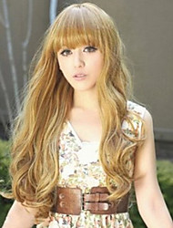 cheap -Synthetic Wig Curly Neat Bang Wig Long Blonde Synthetic Hair 27 inch Women's Best Quality Blonde