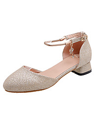 cheap -Women's Heels Low Heel Round Toe Rhinestone Synthetics Casual / Minimalism Spring & Summer Gold / Silver