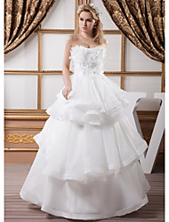 cheap -Ball Gown Strapless Floor Length Organza / Satin Strapless Plus Size Wedding Dresses with Beading / Appliques / Cascading Ruffles 2020