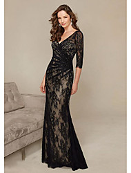 cheap -Sheath / Column Plunging Neck Sweep / Brush Train Lace Elegant Engagement / Formal Evening Dress with Ruched 2020