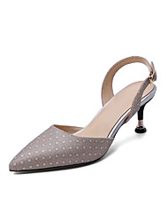 cheap -Women's Sandals Stiletto Heel Pointed Toe Microfiber Classic / Minimalism Spring & Summer Pink / Light Blue / Silver / Wedding / Party & Evening