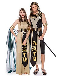 cheap -Cleopatra Pharaoh Dress Cosplay Costume Adults' Men's Cosplay Ancient Egypt Halloween Halloween Festival / Holiday Polyester Champagne / Black Men's Women's Carnival Costumes / Belt / Cloak / Belt