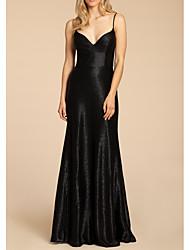 cheap -Sheath / Column Spaghetti Strap Floor Length Satin Bridesmaid Dress with Pleats / Open Back