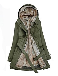 cheap -Women's Winter Parka Parka Casual / Daily Solid Colored Long Cotton Long Sleeve Hooded Black / Army Green / Beige S / M / L