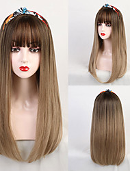 cheap -Synthetic Wig Bangs Synthetic Extentions kinky Straight Natural Straight Avril Neat Bang With Bangs Wig Long Medium Brown / Strawberry Blonde Synthetic Hair 22 inch Women's Party Women Synthetic Brown
