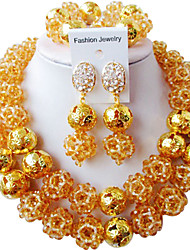 cheap -Women's Crystal Bracelet Bangles Drop Earrings Bridal Jewelry Sets Braided Heart Trendy Ethnic Africa Earrings Jewelry Light Yellow / Brown / Hot Pink For Wedding Engagement Gift Holiday Festival