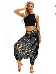 cheap -Women's Yoga Pants Harem Baggy Print Black Blue Dance Fitness Gym Workout Bloomers Sport Activewear Lightweight Breathable Quick Dry Soft Stretchy Loose