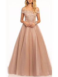 cheap -A-Line Spaghetti Strap Floor Length Tulle Beautiful Back / Pink Prom / Formal Evening Dress with Appliques 2020