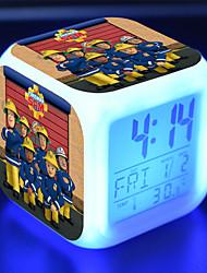 cheap -Fireman Sam alarm clock small rescue team Fireman Sam colorful mood lighting LED creative small alarm clock