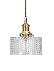 cheap -1-Light Japanese Retro Brass Carved Glass Pendant Light Bedroom Bedside Aisle Balcony Bar Table Lamp