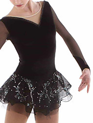cheap -Figure Skating Dress Women's Girls' Ice Skating Dress Black Spandex High Elasticity Training Competition Skating Wear Handmade Patchwork Crystal / Rhinestone Long Sleeve Ice Skating Figure Skating