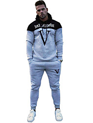 cheap -Men's 2-Piece Patchwork Tracksuit Sweatsuit Casual Long Sleeve Front Zipper Cotton Thermal / Warm Breathable Soft Running Fitness Jogging Sportswear Athletic Clothing Set Athleisure Wear Black Blue