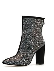 cheap -Women's Boots Chunky Heel Pointed Toe PU Winter Black