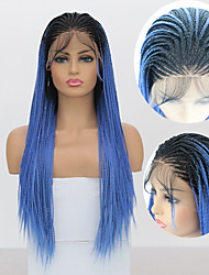 cheap -Synthetic Lace Front Wig Box Braids with Baby Hair Lace Front Wig Ombre Long Black / Sapphire Blue Synthetic Hair 18-24 inch Women's Braided Wig African Braids African Braiding Ombre