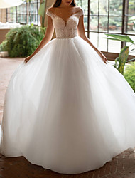 cheap -A-Line Wedding Dresses Off Shoulder Court Train Tulle Short Sleeve Plus Size with Beading 2020