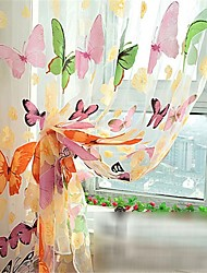 cheap -Floral Semi-Sheer One Panel Curtain Living Room   Curtains