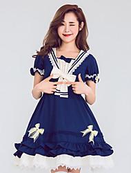 cheap -Sweet Lolita Dress Female Japanese Cosplay Costumes Blue Color Block Bowknot Short Sleeve Knee Length