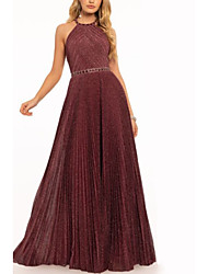 cheap -A-Line Elegant Prom Formal Evening Dress Halter Neck Sleeveless Floor Length Polyester with Sash / Ribbon Pleats 2020