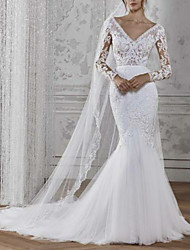 cheap -Mermaid / Trumpet V Neck Court Train Lace / Tulle Long Sleeve Boho Illusion Sleeve Wedding Dresses with 2020