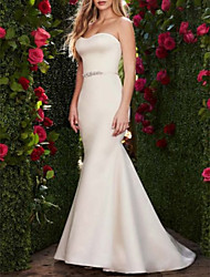 cheap -Mermaid / Trumpet Wedding Dresses Sweetheart Neckline Sweep / Brush Train Satin Strapless Plus Size with Sashes / Ribbons Bow(s) 2020