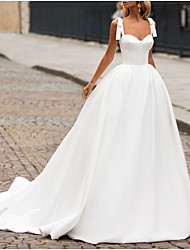 cheap -A-Line Sweetheart Neckline Sweep / Brush Train Satin Spaghetti Strap Plus Size Wedding Dresses with Bow(s) 2020