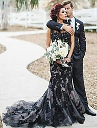 cheap -Mermaid / Trumpet Wedding Dresses Jewel Neck Court Train Lace Satin Tulle Regular Straps Sexy Black Modern with Appliques 2020
