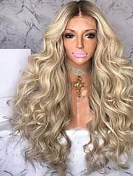 cheap -Synthetic Wig Curly Asymmetrical Wig Blonde Long Blonde Synthetic Hair 27 inch Women's Best Quality Blonde