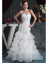 cheap -Mermaid / Trumpet Strapless Court Train Organza / Satin Strapless Plus Size Made-To-Measure Wedding Dresses with Beading / Cascading Ruffles / Ruched 2020