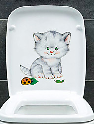 cheap -Funny Cat Toilet Stickers - Animal Wall Stickers Animals / Shapes Bathroom / Kids Room 15*14.5cm