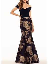 cheap -Mermaid / Trumpet Floral Engagement Formal Evening Dress Off Shoulder Short Sleeve Floor Length Satin with Pattern / Print 2020
