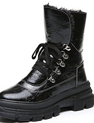 cheap -Women's Boots Flat Heel Round Toe PU Booties / Ankle Boots Fall & Winter Black / White / Gold