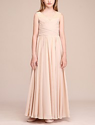 cheap -A-Line V Neck Ankle Length Chiffon Junior Bridesmaid Dress with Ruching