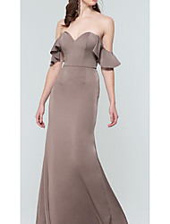 cheap -Sheath / Column Sweetheart Neckline Floor Length Charmeuse Bridesmaid Dress with Ruching