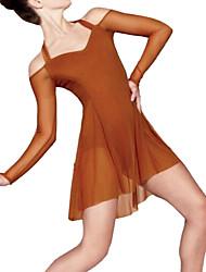 cheap -Ballet Leotards Girls' Performance Mesh / Lycra Criss Cross / Ruching Long Sleeve / Sleeveless Natural Dress
