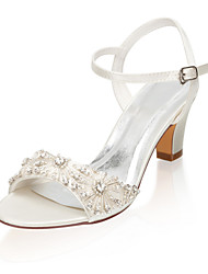 cheap -Women's Wedding Shoes Glitter Crystal Sequined Jeweled Chunky Heel Open Toe Rhinestone Satin Summer Ivory / Party & Evening