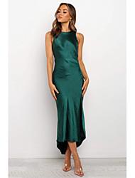 cheap -Women's Daily Wear Basic Sheath Dress - Solid Colored Backless Split Green S M L XL
