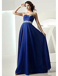 cheap -A-Line Sweetheart Neckline Floor Length Chiffon Empire / Blue Formal Evening / Wedding Guest Dress with Crystals 2020