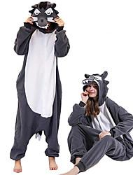 cheap -Adults' Kigurumi Pajamas Wolf Onesie Pajamas Polar Fleece Ink Blue Cosplay For Men and Women Animal Sleepwear Cartoon Festival / Holiday Costumes / Leotard / Onesie / Leotard / Onesie