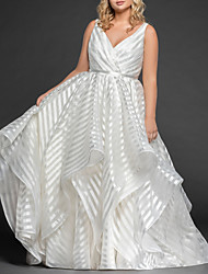 cheap -A-Line V Neck Sweep / Brush Train Organza Regular Straps Romantic Plus Size Wedding Dresses with Draping 2020
