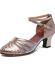 cheap -Women's Modern Shoes / Ballroom Shoes Synthetics Buckle Heel Buckle Cuban Heel Dance Shoes Dark Red / Coffee / Gold / Performance