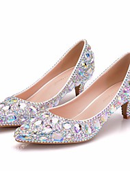 cheap -Women's Wedding Shoes Glitter Crystal Sequined Jeweled Low Heel Pointed Toe Rhinestone / Crystal / Sparkling Glitter PU Vintage / Minimalism Spring &  Fall / Spring & Summer Silver / Rainbow