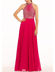 cheap -A-Line Open Back Prom Formal Evening Dress Halter Neck Sleeveless Floor Length Chiffon with Pleats Beading 2020