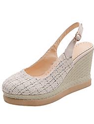 cheap -Women's Heels Wedge Heel Round Toe Canvas Vintage / Casual Summer Black / Beige