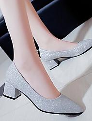 Недорогие -Жен. Обувь на каблуках На толстом каблуке Заостренный носок Полиуретан Весна лето Черный / Золотой / Серебряный