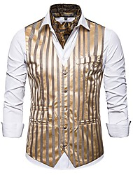 cheap -Men's Vest, Striped V Neck Polyester Black / White / Gold