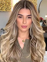 cheap -Synthetic Wig Body Wave Asymmetrical Wig Blonde Long Blonde Synthetic Hair 27 inch Women's Best Quality Blonde