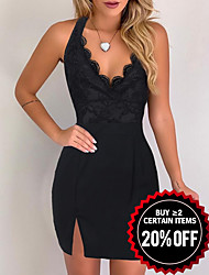 cheap -Women's Sexy Bodycon Dress - Floral Lace Trims Strap Black S M L XL